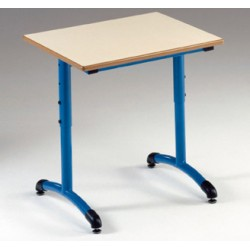 Table maternelle réglable NF T1 à T4 à dégagement latéral Loulou mélaminé 60x50 cm