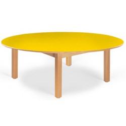 Table maternelle ovale Lola hêtre vernis stratifié alaise bois 150x90 cm TC à T3