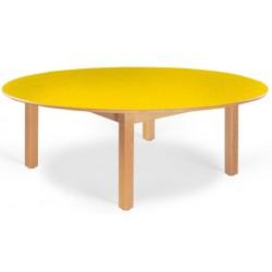 Table maternelle ovale Lola hêtre vernis stratifié alaise bois 120x90 cm TC à T3