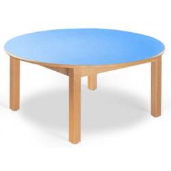 Table maternelle ronde Lola hêtre vernis mélaminé PVC diam. 120 cm TC à T3