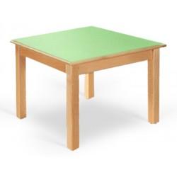 Table maternelle Lola hêtre vernis stratifié alaise bois 60x50 cm TC à T3
