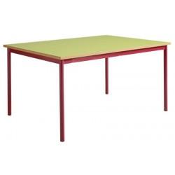Table maternelle 4 pieds 200x80 stratifié chants alaisés T1 à T4