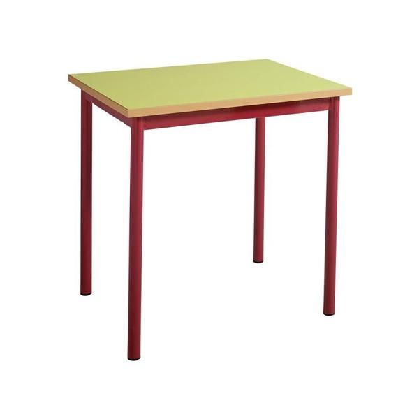 Table maternelle 4 pieds 60x50 mélaminé chants ABS T1 à T4