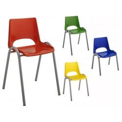 Chaise coque plastique 4 pieds maternelle T1 à T4
