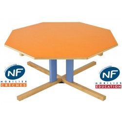 Table bois NF Pioupiou octogonale diam. 120 cm pied central TC à T3