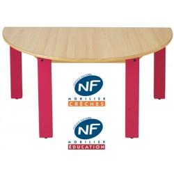 Table bois NF Pioupiou demi lune diam. 120 cm TC à T3
