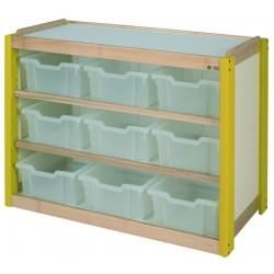 Meuble rangement 9 grands casiers translucides L107x78,5x53cm