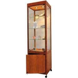 Vitrine d'exposition avec meuble et éclairage coloris merisier sur roulettes L75xP42xH180 cm