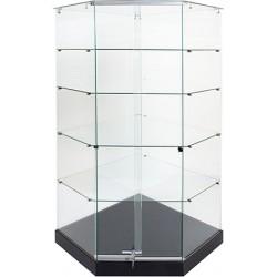 Vitrine d'angle socle noir plafond verre L82xP82xH180 cm