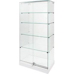 Vitrine d'exposition socle blanc et plafond verre sans éclairage L80xP47xH180 cm