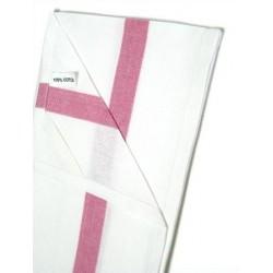 Lot de 300 torchons coton blanc 2 liteaux rose 50x80 cm