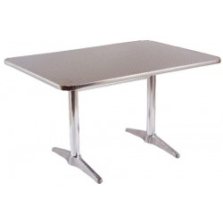 Table aluminium plateau inox Albane 110x70 cm