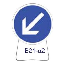 Disque temporaire galvanisé B21_a2 850 CL1 avec pied incliné