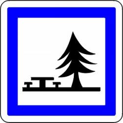 Panneau alu de signalisation des services d'aire routière CE7 CL2 900 mm