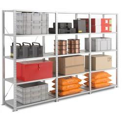 Rayonnage tôlé  galvanisé charges mi-lourdes kit suivant 5 niveaux L100xP40xH200 cm