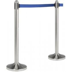Poteau d'accueil inox brossé à sangle bleue 2,1 m
