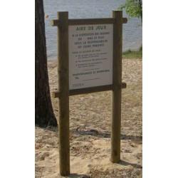Panneau d'information aire de jeux bois et PVC