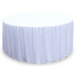 Lot de 10 nappes polyester 180 gr blanches diam 152 cm