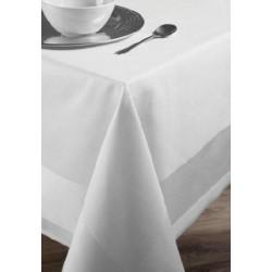 Lot de 20 nappes 140x140 cm bandes satin 220g blanc