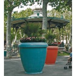 Jardinière bambou pot en béton vernisse ocre diam 100xH100 cm