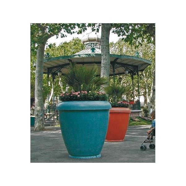Jardiniere Bambou Pot En Beton Vernisse Ocre Diam 100xh100 Cm