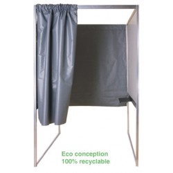 Isoloir structure alu rideau PVC M1 case handicapé independante 100% recyclable