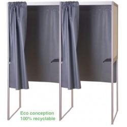 Isoloir structure alu rideau PVC M1 case suivante 100% recyclable