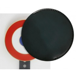 Cache cocarde en cuir noir