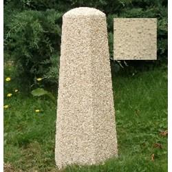 Borne hexagonale diam 30xH70 cm ton pierre sablé
