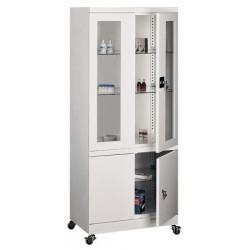 Armoire médicale 4 portes avec roulettes L80xP43,5xH188,5 cm