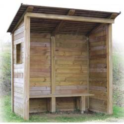 Abris bus ouvert en bois avec banc L250xP140 cm