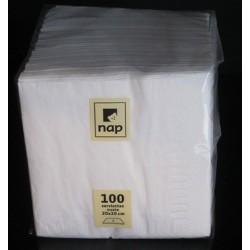 Carton de 40 paquets de 100 serviettes ouate 20 x 20 cm blanc