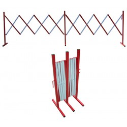 Barrière extensible acier blanc et rouge L400 x H95,4 cm