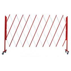 Barrière extensible mobile acier rouge et blanc L320 x H160 cm