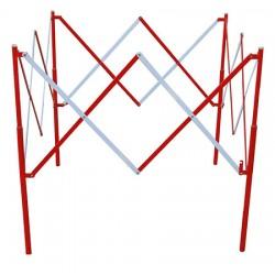 Barrière carre extensible acier rouge et blanc 130 x 130 x H100 cm