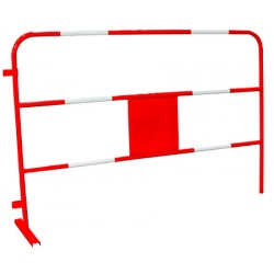 Barrière de chantier rouge et blanche personnalisable L150 x H100 cm
