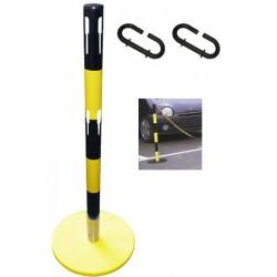 Kit extension 1 poteau acier noir et jaune avec 2 crochets et chaine 2 m