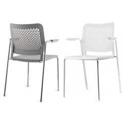 Lot de 4 chaises coques Calado empilables avec accoudoirs ouverts