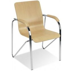 Lot de 2 fauteuils Samba coque bois empilables pieds chromés