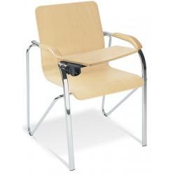 Lot de 2 fauteuils coque bois Samba avec tablette pieds alu
