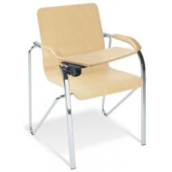 Lot de 2 fauteuils coque bois Samba avec tablette pieds chromé