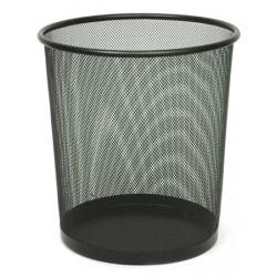 Corbeille à papier ronde Eco en métal perforé 19L noire