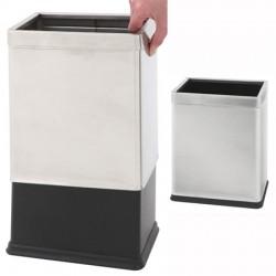 Corbeille à papier rectangulaire à double paroi inox 10L