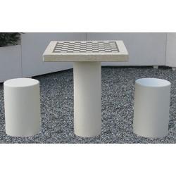 Table de jeux avec 2 tabourets béton blanc naturel