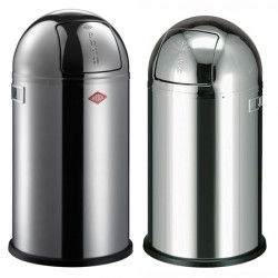 Poubelle Pushboy Wesco inox brillant 50 litres