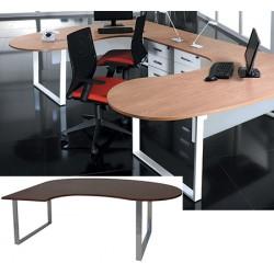 Bureau plan compact 2 pieds 1 poutre Urban L 200 cm manager à gauche
