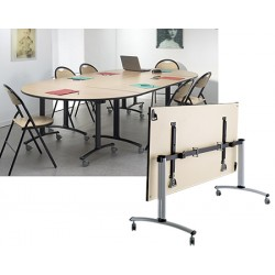 Table rabattable mobile Celcius 1/2 ROND 140x70 mélaminé 22 mm chant PVC