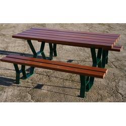 Table pique nique Provence lames sapin lasuré acajou 180 cm